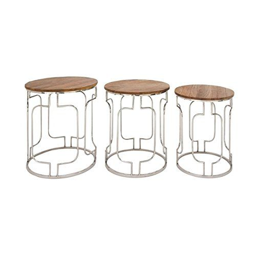 Studio 350 Stainless Steel Wood Table Set Of 3 20 Inches 22 Inches 25 Inches High With Images Stainless Steel Table Wood Accent Table Table