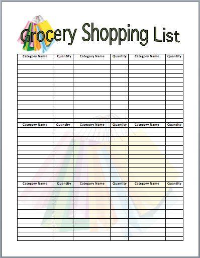 Shopping List Template Business Pinterest - inventory list example