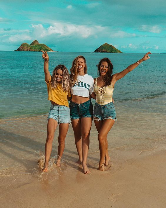 Image May Contain 3 People People Standing Ocean Sky Beach Shorts Outdoor Nature And Water Friend Pictures Bff Pictures Best Friend Pictures