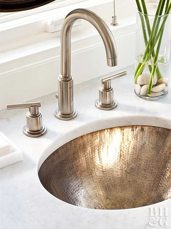 An Easy Way To Change Your Bathroom S Look Is To Switch Out The Faucet And Cabinet Pulls Bathroom Sink Design Bathroom Sink Bowls Bathroom Sink