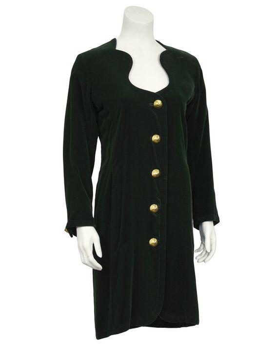 Hunter Green Velvet Dress with Gold Buttons
