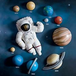 3d wall d cor solar system set astronauts solar system - Hanging planets decorations ...