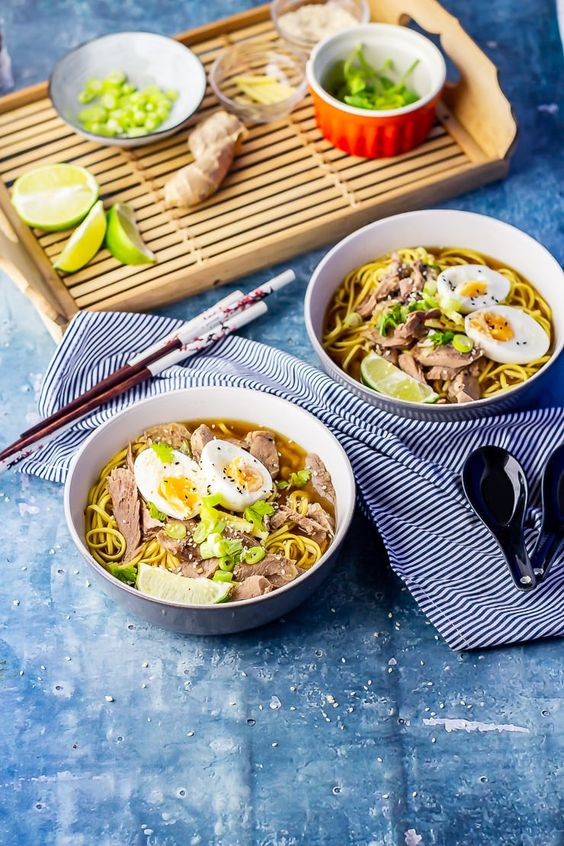 Leftover turkey soup is the perfect way to use up your Thanksgiving and Christmas turkey! Fragrant broth with noodles and topped with a soft boiled egg will get rid of your post holiday blues. #leftovers #christmas #thanksgiving #christmasleftovers #thanksgivingleftovers #turkey #leftoverturkey #turkeysoup #turkeyramen #soup #winter #comfortfood #thecookreport