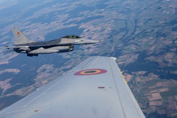 Belgian General Dynamics F-16 Falcon, during joint exercises over the Baltic states, over Lithuania;
