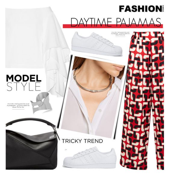 """""""Daytime Pajamas"""" by cly88 ❤ liked on Polyvore featuring F.R.S. For Restless Sleepers, Rosie Assoulin, adidas Originals, Pamela Love, Loewe, MM6 Maison Margiela, GetTheLook, TrickyTrend, Inspired and modelstyle"""