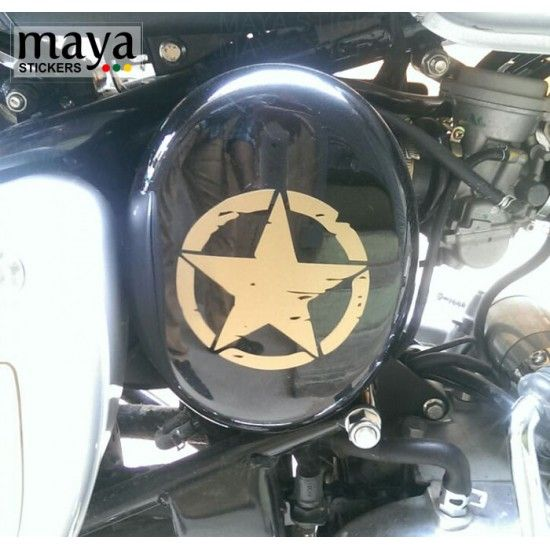 Star Sticker In Distressed Style With Scratches Design For Cars