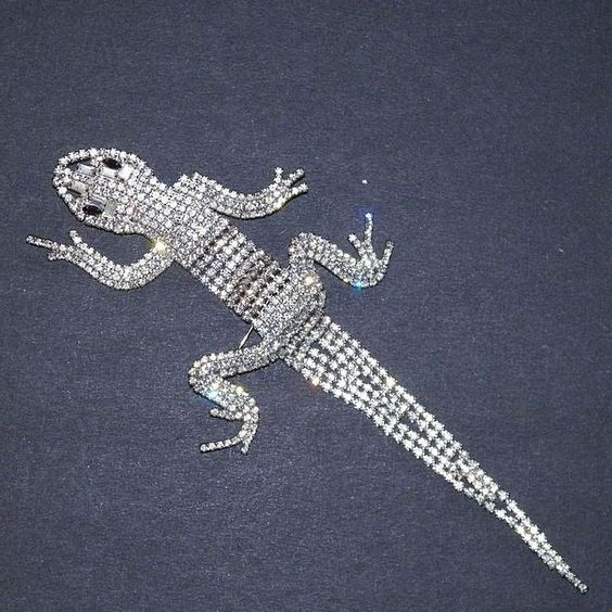 Vintage Large Articulated Rhinestone Lizard Shoulder Pin from karensfinds on Ruby Lane