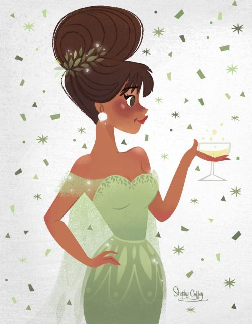 Elegant Pretty Girl #drink #illustration / Ragazza elegante e carina #bibita #illustrazione - Art by Stephy Coffey