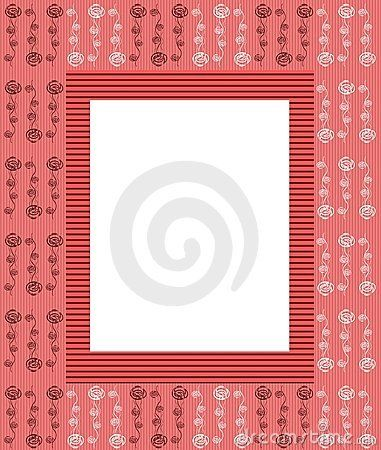 Frame created by pois, stripes and abstract flowers. colors: light red and white