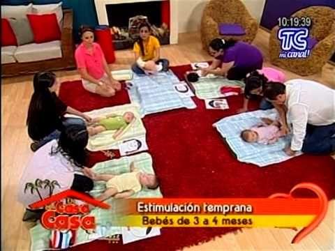 CRECER: Estimulación en bebés de 3 a 4 meses - YouTube