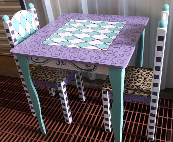 Childrens Table and Chair set Childrens furniture and decor Tea party Tea Party kids decor Custom Made Purple Turquoise Teal Lavender Any
