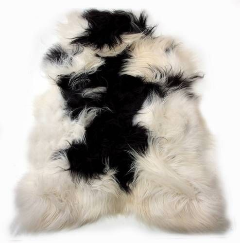 100% Icelandic Sheepskin Single Long Haired Spotted