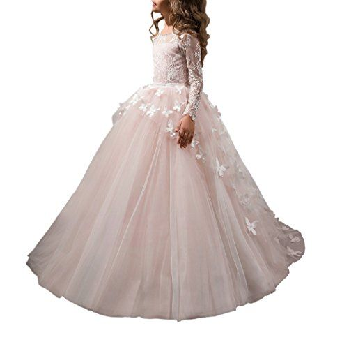 Lace Lovely First Communion Girl Prom Long Sleeves Dresse...