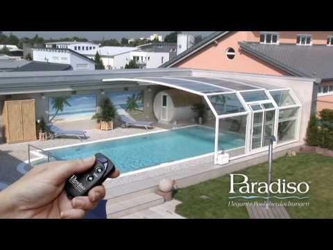 Paradiso Schwimmbadüberdachung Modell Venezia Mit Emotion Fahrantrieb Youtube Swimming Pool Enclosures Indoor Outdoor Pool Indoor Swimming Pools