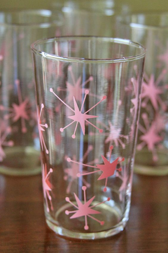 Different Colored Drinking Etched Glass Set