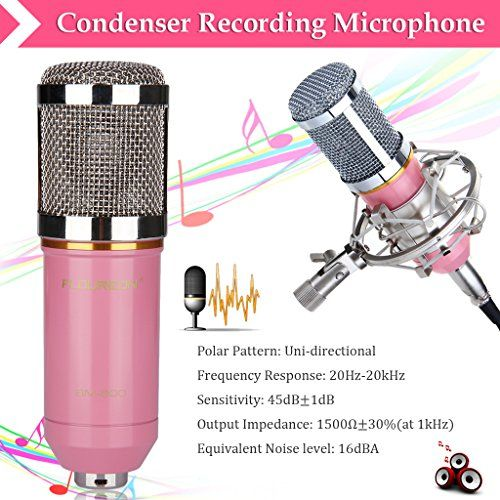 Amazon.com: Excelvan® BM-800 Condenser Microphone Cardioid Pro Audio Studio Vocal Recording Mic with Shock Mount (Pink): Musical Instruments