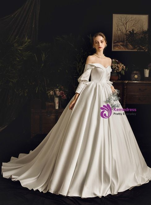 Simple White Ball Gown Satin Off The Shoulder Long Sleeve Wedding Dress With Images Wedding Dresses Whimsical Ball Gown Wedding Dress Bridal Dresses Vintage