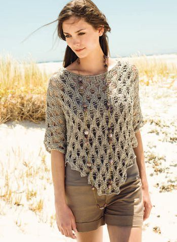 Knitting Pattern For Lace Poncho : Lana Grossa knitted lace poncho top craft Pinterest Models, Lace and Sw...
