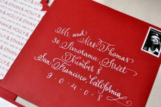 Beautiful calligraphy!: Calligraphy Envelope, Beautiful Calligraphy, Letterpress Invitations, Red Envelope, Wedding Invitations, Red Wedding