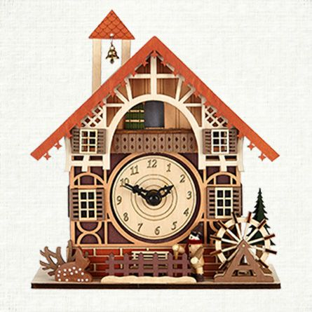 Decorative Accessories Large Wood Lighted House Clock Arhaus