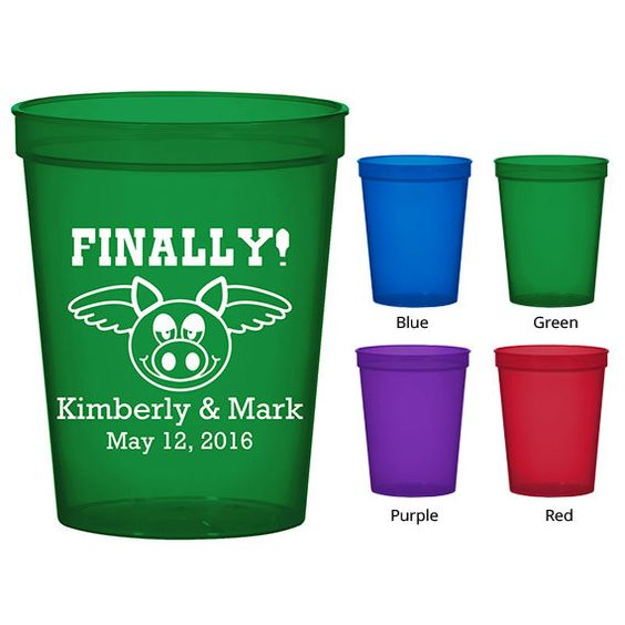 16 oz Translucent Stadium Cups (Clipart 1765) Finally Pigs Have Wings - Personalized Wedding Favors - Cups - Custom Cups - Wedding Cups