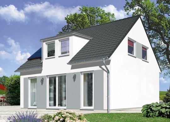 fehér színű ház azürke színű kiemeléssel