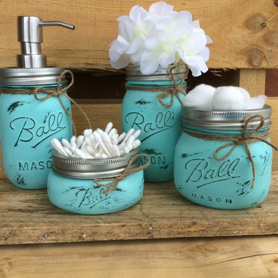 Masons bathroom and mason jar bathroom on pinterest for Bathroom decor mason jars
