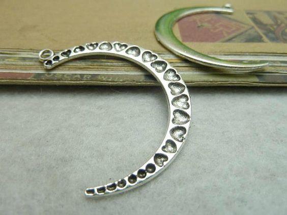 20PCS  Quarter Moon Charms Antique Tibetan Silver by coldinwinter