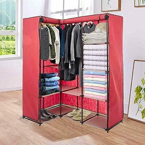 Corner Wardrobe Clothes Garment Closet With Non Woven Fabric Dustproof Cover Red In 2020 Closet Clothes Storage Corner Wardrobe Closet Organizing Systems