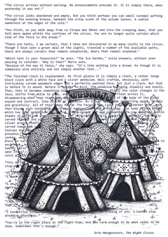 The Night Circus on Book Quotes Print by WhimsicalLush on Etsy
