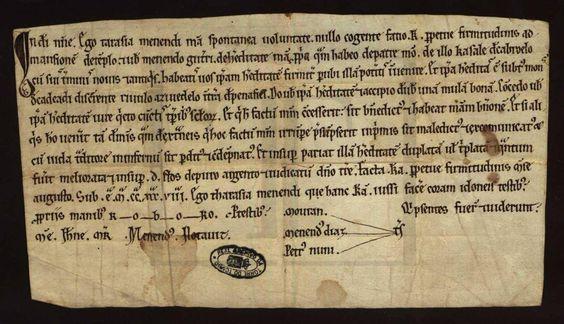 """carta de doação à Ordem do Templo, de uma herdade em Penafiel, http://digitarq.arquivos.pt/viewer?id=4634747. Trata-se de um documento de agosto de 1200 e que pertencente à coleção """"Gavetas"""" http://digitarq.arquivos.pt/details?id=4185743 do Arquivo Nacional da Torre do Tombo"""