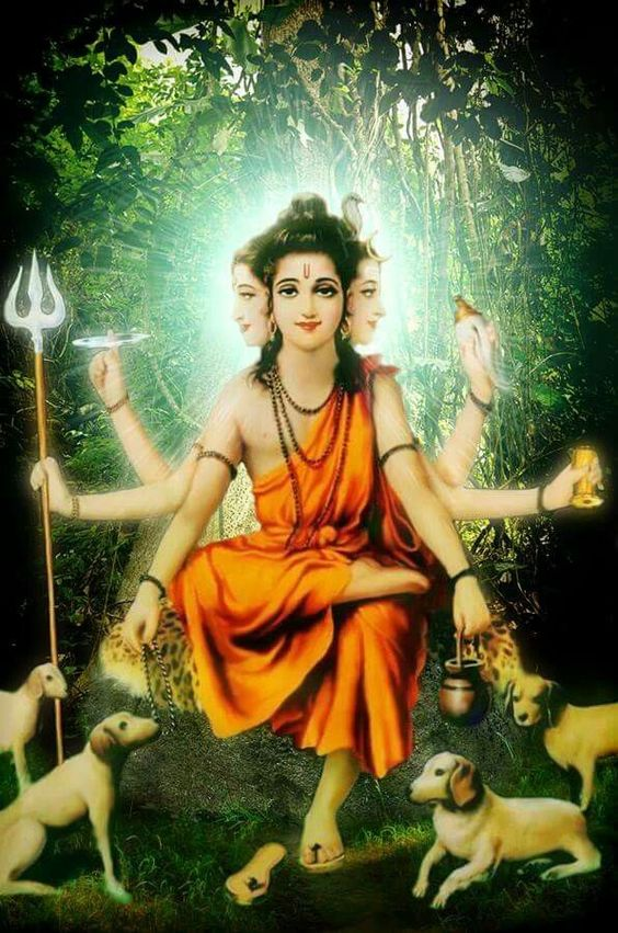 Sadguru Dattatreya, the first guru to take a body.  Usually depicted as the Male Trinity: