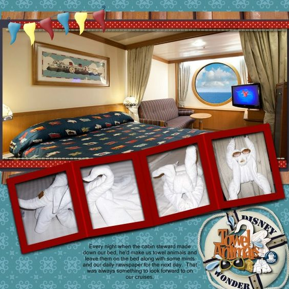 I like this cruise cabin page... may have to do this for our last cruise. MouseTalesTravel.com