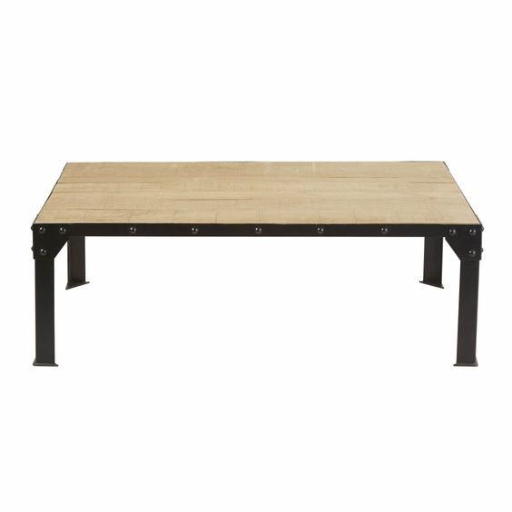 Table Basse En Manguier Massif Et Metal Noir Factory Legno Tavolini Divano In Legno