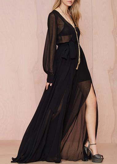 Black Chiffon Side Slit V Neck Maxi Dress - USD $51.28
