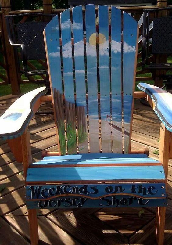 """Hand painted Adirondack Chair. """"Weekends on the Jersey Shore"""" beach scene."""