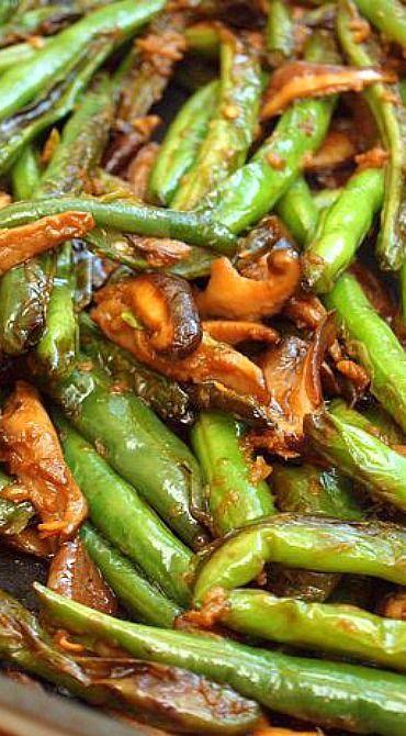 Stir-Fried Szechuan Green Beans & Shiitake Mushrooms