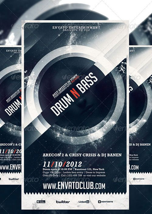 drum n bass electro music party club flyer poster template free - club flyer background