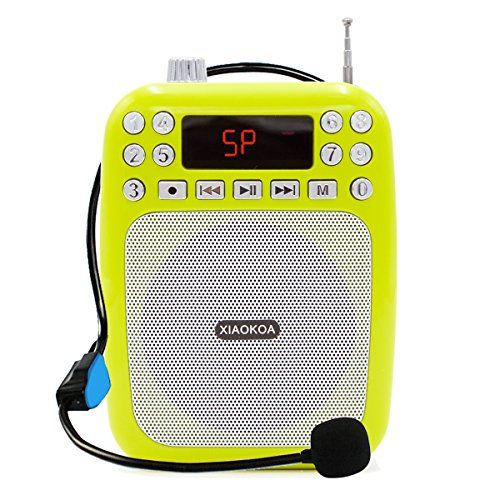 XIAOKOA Ultralight Voice Amplifier with Headset Microphone Mini Portable Loudspeaker Megaphone Support FM Radio MP3 Player TF/SD Card(F30A Green)
