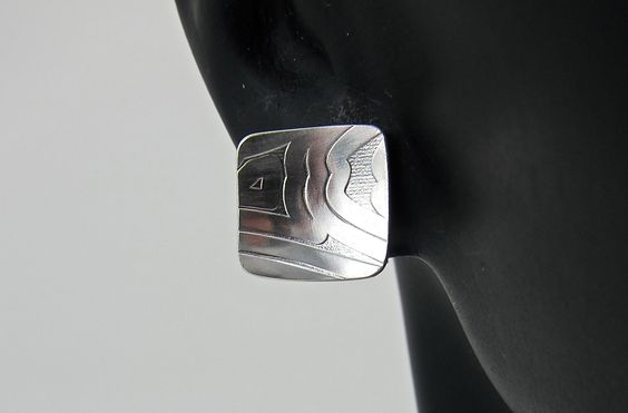 sterling silver earrings. square, textured, slightly domed by aatelierandrea on Etsy