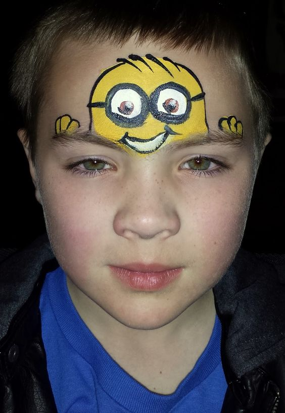 Face Painting By Deborah Lane Despicable Evil Minion Face Painting Designs Minion Face Paint Face Painting Halloween