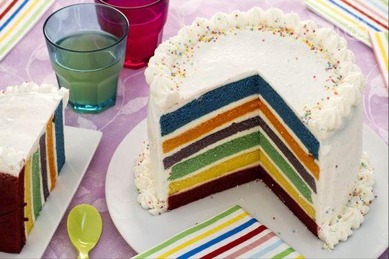 La torta arcobaleno è un dolce ideale per festeggiare il compleanno dei vostri bambini o per un'occasione speciale, con tanti pan di spagna colorati.