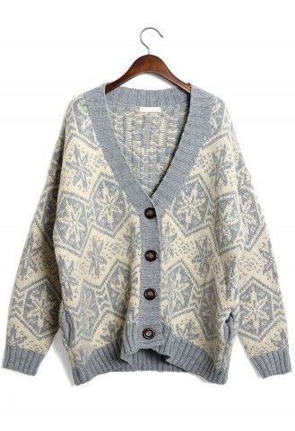 Snowflake Pattern Fairisle Cardigan in White/Smoke