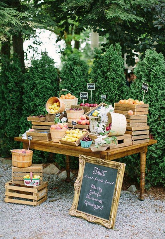 Fruit stand appetizers at a wedding