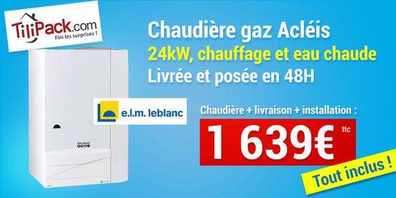 Chaudière murale mixte ELM Leblanc Acléis 24KW Cheminée