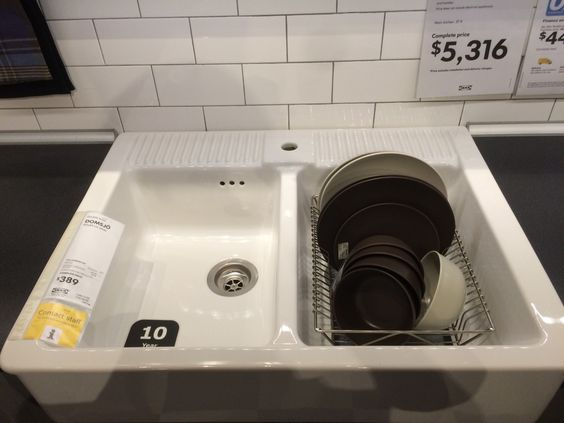 Seen @ IKEA Singapore. Kitchen sink template for future home. One side to wash and the other to dry.