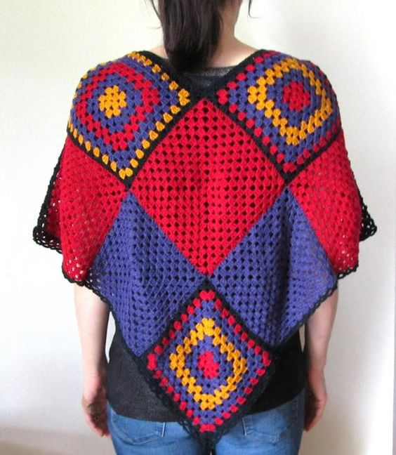 Crochet Poncho Large Square Motif Poncho in Red Purple and | Etsy