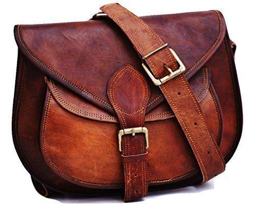 Women/'s Vintage Brown Leather Messenger Half Flap Cross Body Purse Handmade Bag