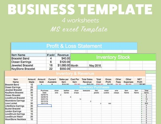 BUSINESS EXCEL Template Profit Loss Inventory Expense by Pixel26 - business profit and loss statement template