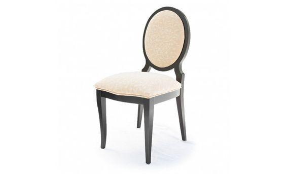 Silla con respaldo oval tapizado en loneta bordada de for Tapizar sillas con respaldo